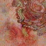 Оранжевый цветочный узор на worn золотой предпосылке Стоковые Фото