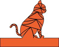 Оранжевый цвет Кот ждет иллюстрация штока
