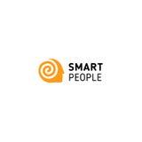 Оранжевый человек имел с спиралью внутри символизировать думает, помнит, мозг и умные люди Логотип изолированный вектором необыкн иллюстрация вектора