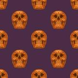 Оранжевый череп сахара на фиолетовой предпосылке вектор картины безшовный Стоковые Фото