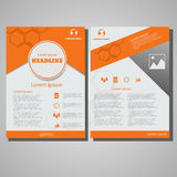 Оранжевый шаблон плана дизайна рогульки брошюры цвета, размер A4 Стоковые Фото