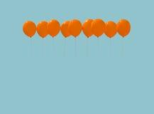 9 оранжевых воздушных шаров Стоковые Изображения RF