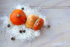 2 оранжевых тыквы на таблице стоковая фотография