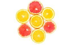 Орандж и ломтики грейпфрута в форме цветка Стоковые Фото