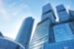 Организация бизнеса, голубые небоскребы, инфраструктура города, современная архитектура, ровный дизайн вектора, запачканная предп Стоковые Фотографии RF
