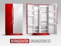 Организация холодильника на прозрачной предпосылке иллюстрация штока