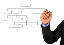 организация чертежа диаграммы бизнесмена Стоковая Фотография