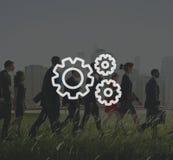 Организация шестерни соединения сотрудничества команды сыгранности иллюстрация вектора