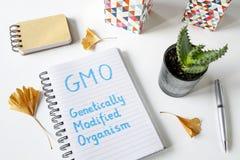 Организм GMO Genetically доработанный написанный в тетради стоковые изображения rf