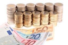 организованное евро колонок монеток кредиток Стоковое Изображение RF