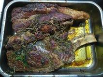Органическая вкусная приправа на carvery говядины в серебряном подносе стоковое изображение rf