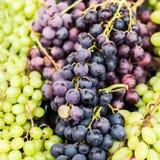 Органическая зеленая и черная виноградина на рынке местного фермера здоровье Стоковые Изображения RF