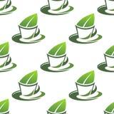 Органическая картина зеленого чая безшовная Стоковые Изображения RF