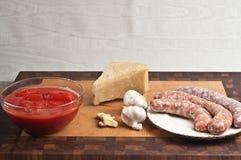 Органические ингридиенты для домодельного соуса для пасты Стоковые Изображения