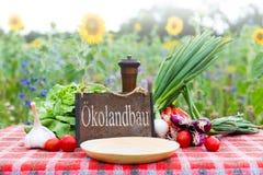 Органические овощи на таблице с немецким текстом Стоковые Фотографии RF