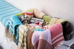 Органические полотенца хлопка на дисплее стоковое фото rf