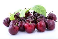 Органические сладостные вишни изолированные на белой предпосылке Стоковые Изображения RF