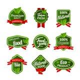 Органический дизайн уплотнения значка здоровой еды Естественный комплект стикера натуральных продуктов Рынок сельскохозяйственног Стоковое Изображение RF