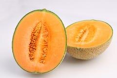 Органический плодоовощ дыни канталупы изолированный на белой предпосылке Стоковые Фотографии RF