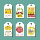 Органический, eco и био комплект ярлыков еды Стоковое Изображение