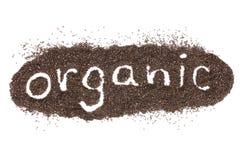 Органическое слово сделанное от изолированных семян chia на белизне Стоковое Изображение