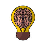 орган человеческого мозга с значком изолированным шариком иллюстрация вектора