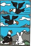 Орел летания и шарж зайчика Стоковые Изображения