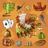 Орел персонажа из мультфильма американский с набором классических западных деталей конструирует печать иллюстрация вектора