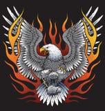 Орел держа двигатель мотоцикла с пламенами иллюстрация вектора