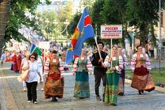 Орел, Россия, 4-ое августа 2015: Фестиваль Orlovskaya Mozaika фольклорный, Стоковые Изображения
