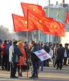 Орел, Россия - 29-ое ноября 2015: Русский протест водителей грузовика Стоковая Фотография RF