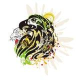 Орел Grunge агрессивный пламенеющий с головой леопарда Стоковое Фото