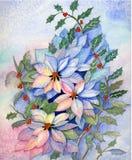 Оригинал Watercolo poinsettia Кристмас Стоковое Изображение RF