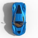 оригинал конструкции автомобиля резвится взгляд сверху Изображение автомобиля спорт голубого на белой предпосылке иллюстрация 3d Стоковые Фото