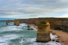 Ориентир ориентир 12 апостолов естественный вдоль большой дороги океана, Victori Стоковое Изображение