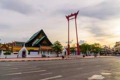 Ориентир ориентир гигантского качания города Бангкока во времени захода солнца Стоковое Изображение