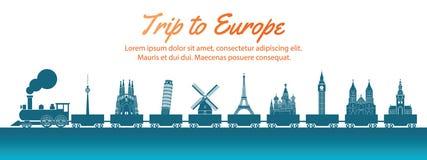 Ориентир Европы снесенный поездом, стилем силуэта искусства концепции, иллюстрацией вектора, зеленым голубым градиентом иллюстрация вектора