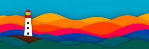 Ориентир ориентир на иллюстрации стиля 3D искусства отрезка бумаги моря Стоковые Фото