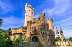 Ориентир ориентиры Германии, средневекового замка Stolzenfels стоковое фото rf