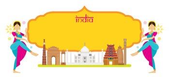 Ориентир ориентиры Индии с традиционным танцором, рамкой Стоковые Изображения
