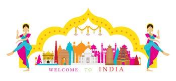 Ориентир ориентиры Индии с традиционным танцором Стоковое Изображение RF
