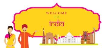 Ориентир ориентиры Индии с людьми в традиционной одежде, рамке Стоковые Изображения RF