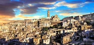 Ориентир ориентиры Италии - древнего города Matera Базиликата Стоковые Изображения