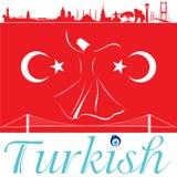 Ориентир ориентиры флага и силуэта Turkish Стоковые Изображения RF