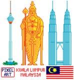 Ориентир ориентир Куала-Лумпур, Малайзия в искусстве пиксела Стоковые Изображения