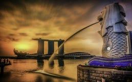 Ориентир ориентир Merlion Сингапура Стоковые Изображения RF