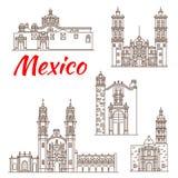 Ориентир ориентир перемещения мексиканского значка архитектуры иллюстрация штока