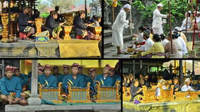 Оркестр Gamelan с типичной индонезийской музыкой Стоковые Изображения RF