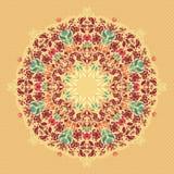 Орнаментальная круглая флористическая картина шнурка. Стоковые Изображения