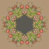 Орнаментальная круглая флористическая картина шнурка Стоковые Фото